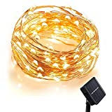 (Promotions Super Discount) Comwinn Solar Starry String Lights 33 Feet Copper Warm White 100 Led Outdoor Lights Ambiance Lighting for Garden Christmas