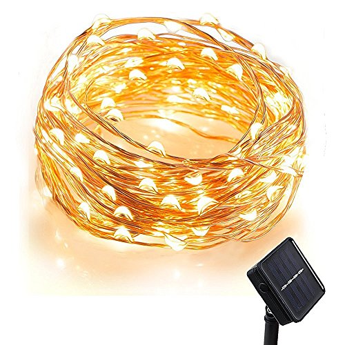 (Promotions Super Discount) Comwinn Solar Starry String Lights 33 Feet Copper Warm White 100 Led Outdoor Lights Ambiance Lighting for Garden Christmas by Comwinn