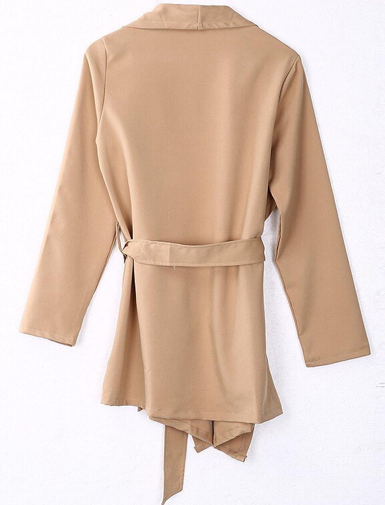 Women Open Front Long Sleeve Soft Drape Lightweight Cardigan with Belt