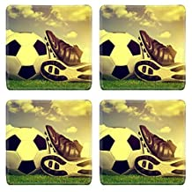 MSD Natural Rubber Square Coasters IMAGE ID 33242002 Vintage soccer background with ball and cleats
