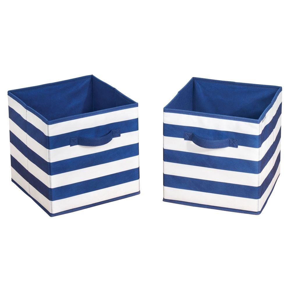 mDesign Set da 2 Organizer giocattoli Box per giocattoli con maniglie Contenitore portagiochi in stoffa ideale per cameretta o sala giochi bianco//blu