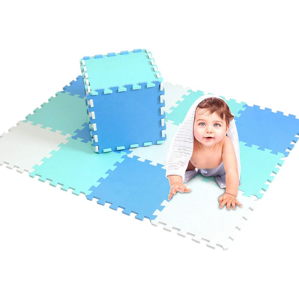 XMTMMD Tappeto Puzzle per Bambini in Soffice Schiuma Eva Tappetino Gioco per la Cameretta Testato Bambini Tappetino Gioco Colorato Neonati 18pcs 30cm*30cm*1cm AMCDW101108112G301018
