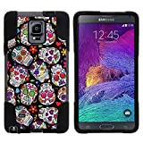 good case for note 4 - Samsung Galaxy Note 4 Shell, Note 4 Dual Case, N910 Case [STRIKE IMPACT] Hybrid Armor Combo - Shock Absorbing Gel Hard Fusion Case with Kickstand by Miniturtle - Sugar Skulls
