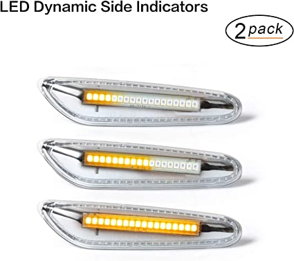 Oz Lampe Led Dynamische Led Seitenblinker Blinker 2 X Bernstein 18 Smd Mit Nicht Polarität Can Bus Fehlerfrei Oe Buchse Klar Für E46 E36 E90 E60 E81 E82 E87 E88 E92 E93 E53 Auto