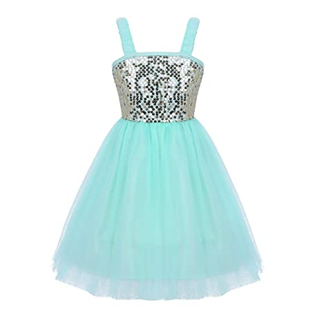 8313f3044 TiaoBug Kids Girls Spaghetti Sequined Ballet Dance Tutu Dress ...