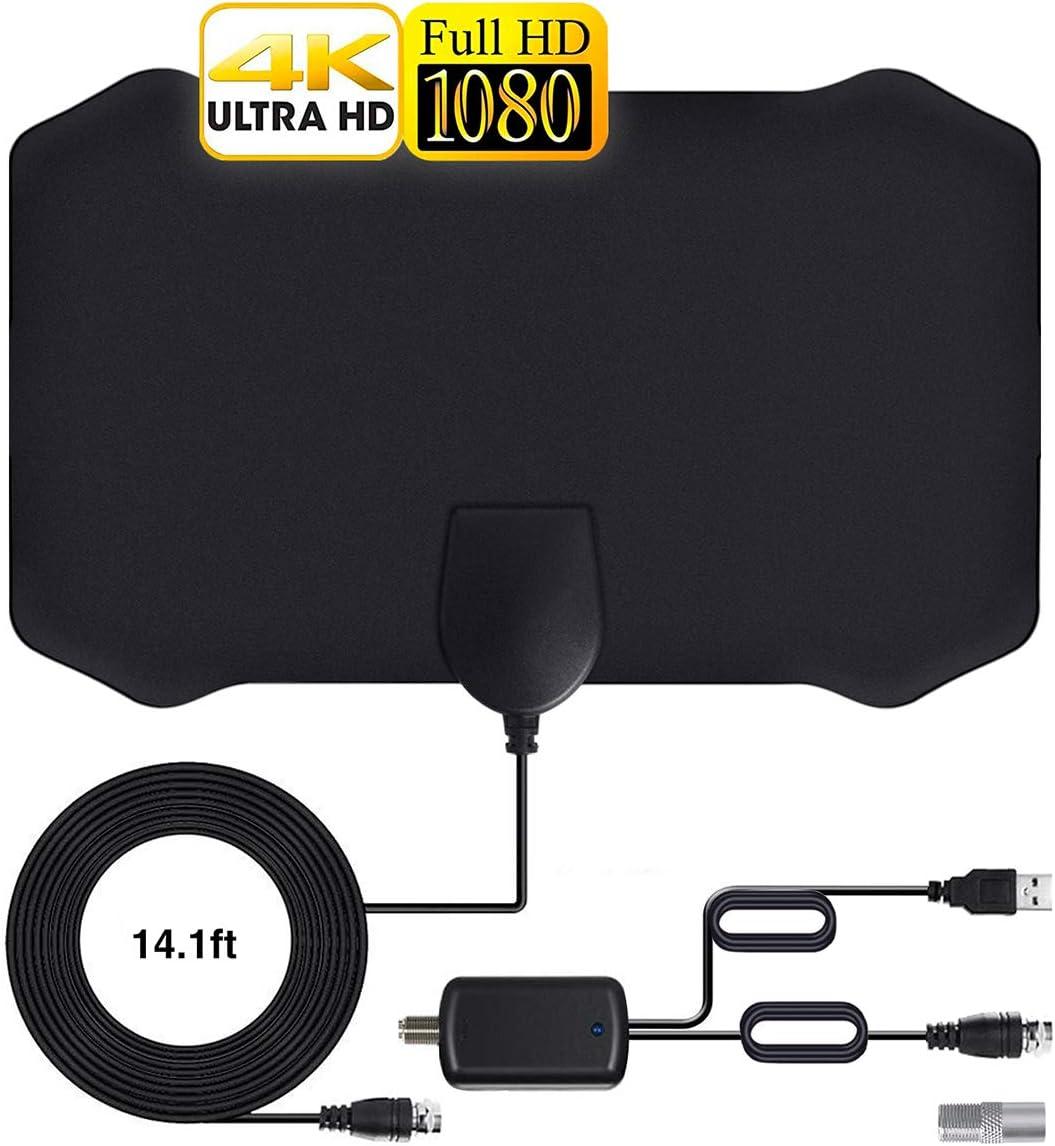 Antena de TV Interior, 120 Millas / 200 km de autonomía, Antena TNT Interior con 4 m Cable coaxial de - VHF/UHF/FM, Toma de Carga 4K 1080p y Todos los ...