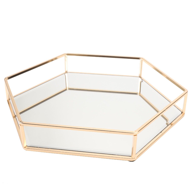 Vintage Glass Tray for Decoraive/Vanity/Perfume/Jewelry Trinket Countertop Holder Dresser Cosmetic Organizer Ornatte Bathroom Dish Display DesignD