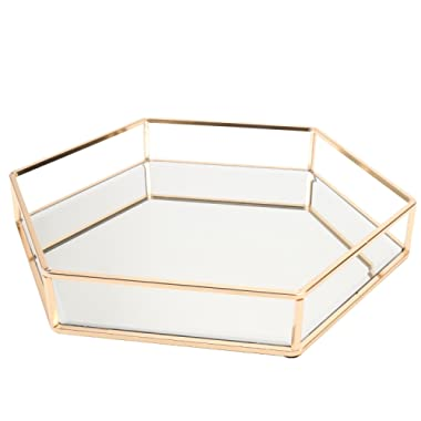 Vintage Glass Tray for Decoraive/Vanity/Perfume/Jewelry Trinket Countertop Holder Dresser Cosmetic Organizer Ornatte Bathroom Dish Display