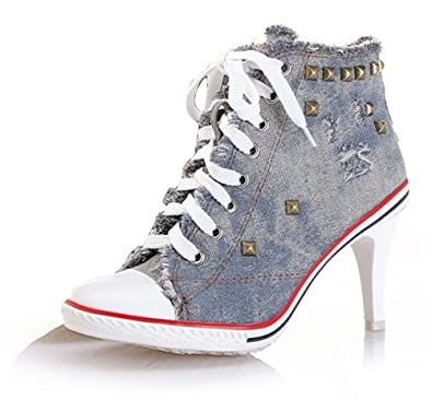 d00acc17c4aa Ghope Women Denim Canvas High Heels Sneakers Trainers High Top Ankle Wedge  Sneaker Rivet Sneakers (
