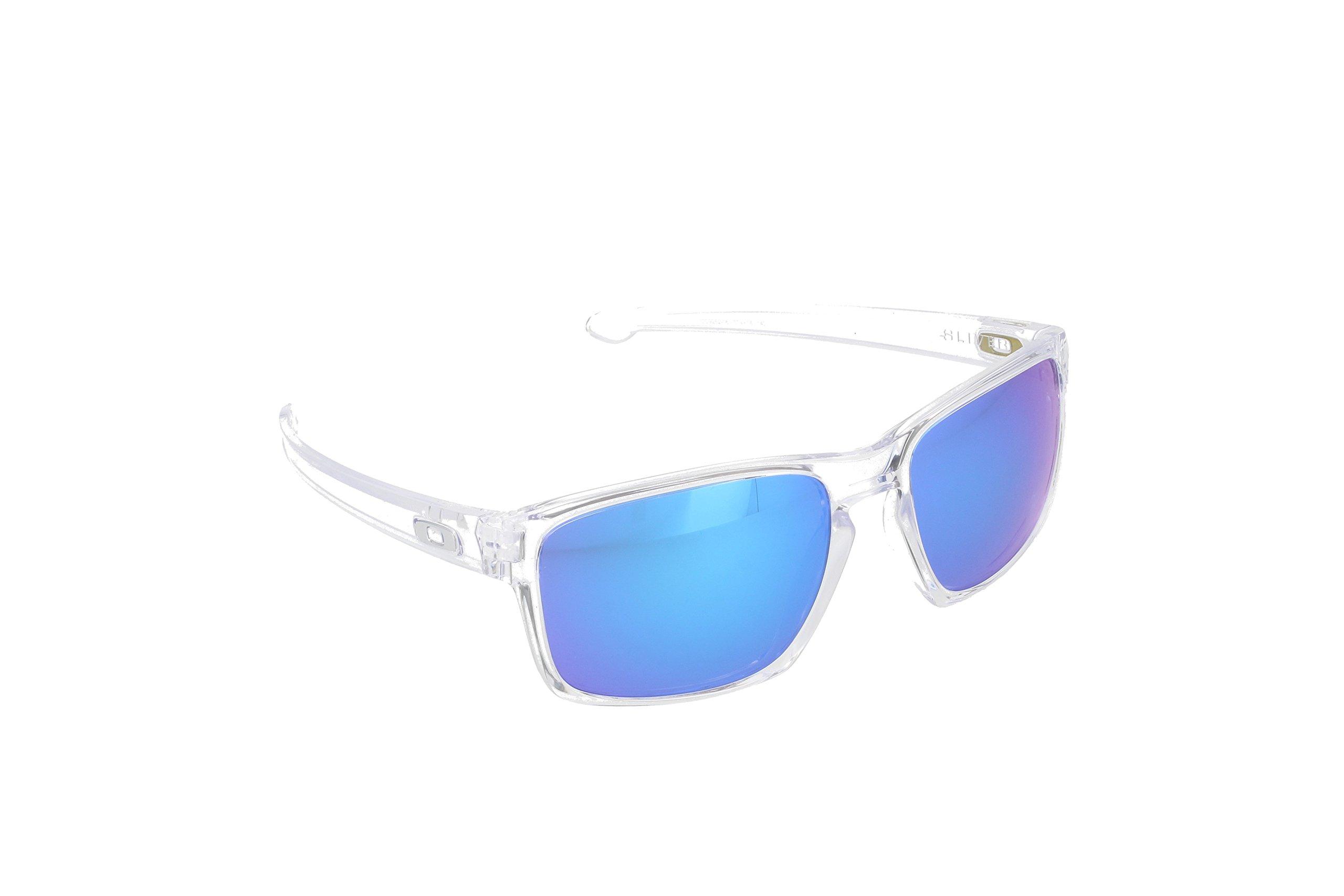 Oakley Men's Sliver OO9262-06 Iridium Rectangular Sunglasses, Polished Clear, 57 mm