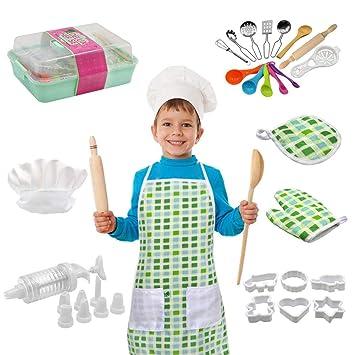 Juego De Chef para Niños Niños - 22 Piezas Incluye Un Delantal ...