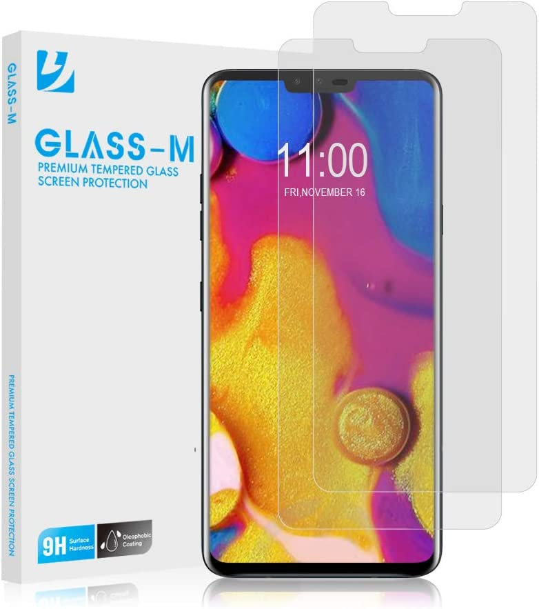 [2 Pack] GLASS-M LG V40 Tempered Glass Screen Protector, Ultra Clear, Scratch Resistant, Bubble Free, Anti-Fingerprint Screen Protector Film, 9H Hardness, Case Friendly Premium Protection Shield