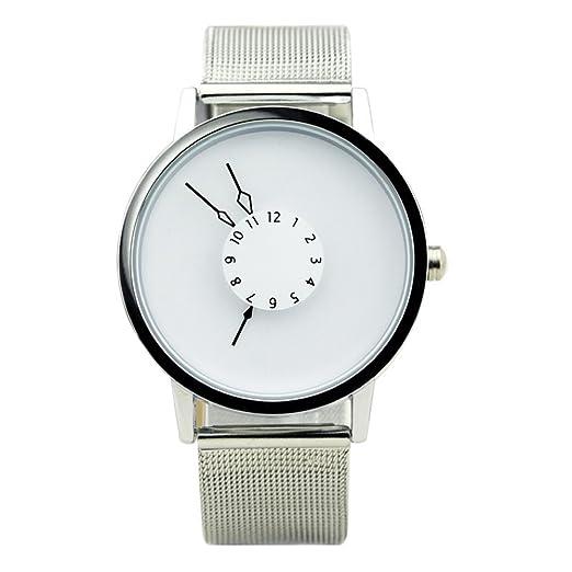 Segunda mano relojes de manera creativa/Perspectiva única/invertida puntero/ reloj simple-F: Amazon.es: Relojes