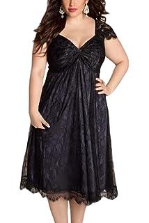 fadea26c19217 Vemubapis Women s Elegant Gothic Deep V-Neck Plus Size Swing Lace Empire  Dress