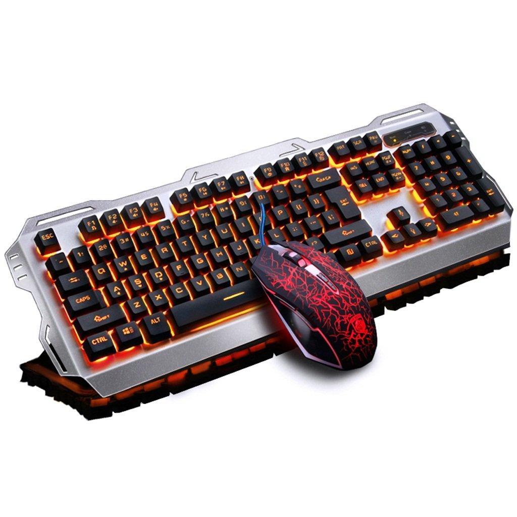 L&Y Teclados para gamers Teclado juego de simulación de teclado mecánico USB teclado con cable de aluminio retroiluminado teclado para juegos teclado ...