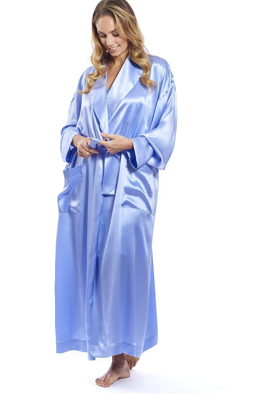 Jadee eleganter Damen Morgenmantel Hausmantel lang aus edel glänzendem Seidensatin in XL & XXXL Uni in 3 Farben