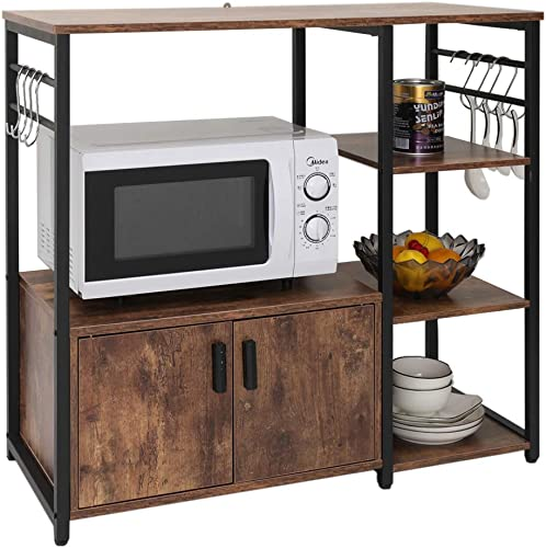 Iwell Kitchen Baker s Rack with 1 Cabinet and 8 Hooks, 4-Tiers Kitchen Storage Cart Table, Microwave Oven Stand, Utility Storage Cabinet with Metal Frame, Rustic Brown ZWJ001F
