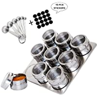 9 Spice Tins Stainless Steel Finished- Kuty Stainless Steel Magnetic Spice Rack on Fridge Spice Jars Organizer Condiment Container & 6 Stainless Steel Measuring Spoons & 1 Pieces of Spice Labels.
