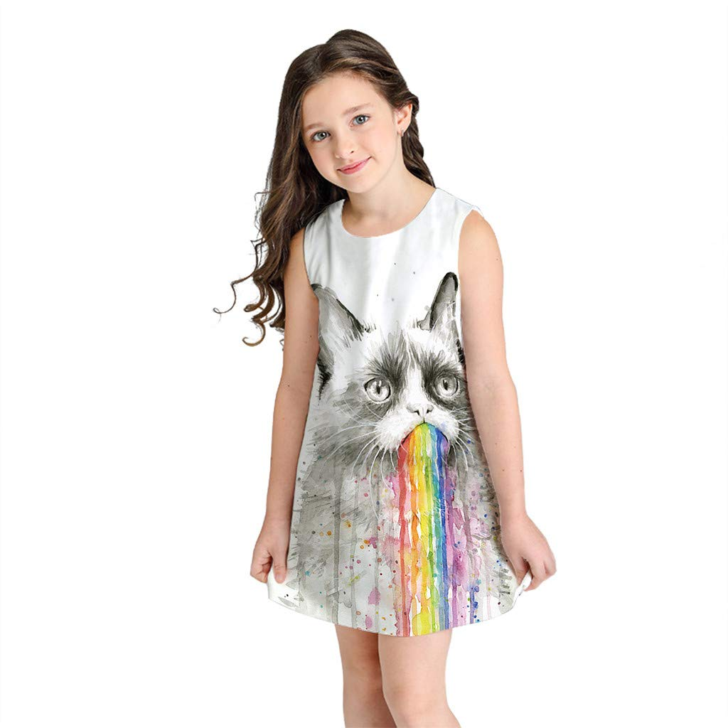 Girls Summer Dresses Sleeveless Casual Loose Cat Print T-Shirts Dress (8-9 Years, Multicolor)