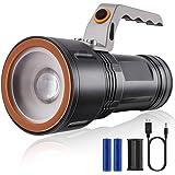 Mucrow 懐中電灯 LEDライト 超高輝度 ズーム機能 防水 USB充電式 防災/登山/釣り/夜間作業/キャンプ/などに適用懐中電灯 USBケーブル付属