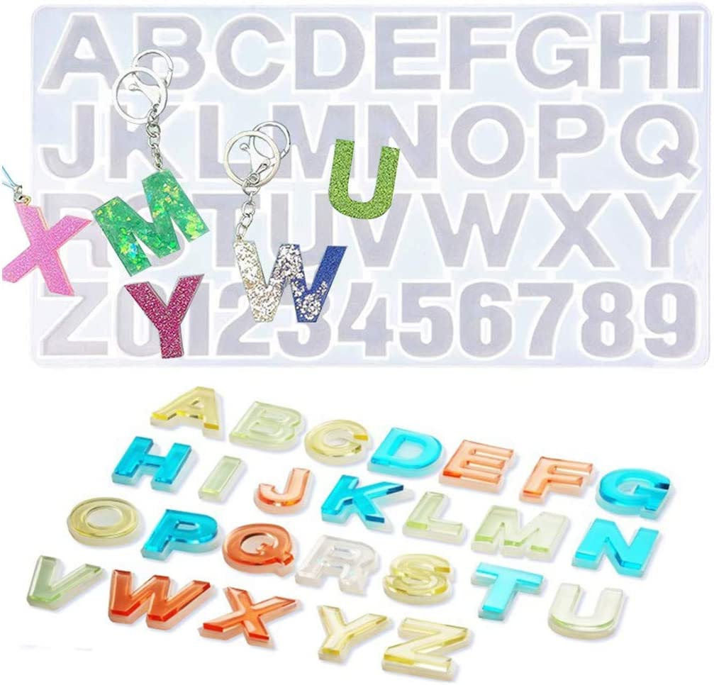 Keychain Silicone Mould Jewelry Making Tools Letters Resin Mold Casting Molds