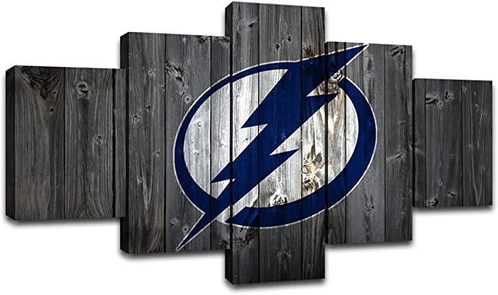 Tampa Bay Lightning Wall Decor Ice Hockey Pictures Canvas Prints Wall Art Living Room Home Decoration Framed Posters Ready to Hang(60''Wx32''H)