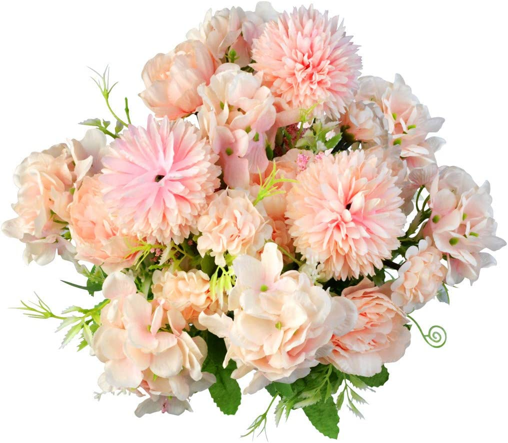 Yookat 3 Pack Fake Peony Hydrangea Silk Flowers Artificial Flowers Carnations Flowers Centerpiece Flowers Table Flower Arrangements Floral Wedding Party Home Decoration (Pink)