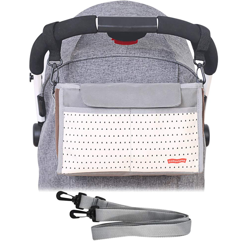KONKY Baby Stroller Organizer Bag with Deep Cup Holders,Baby Wipes Dispenser,Stroller Accessories, Extra Storage Space for Organize The Baby Accessories and Your Phones(Gray))