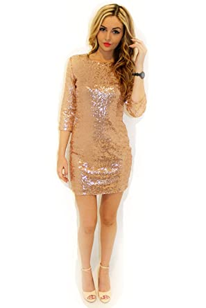 1afeab5e42a Autumn Glistening Sequin Cocktail Club Party Top Shimmer Glam Glitter Plus  Size Fashion Dress Slim Fitting  Amazon.co.uk  Clothing