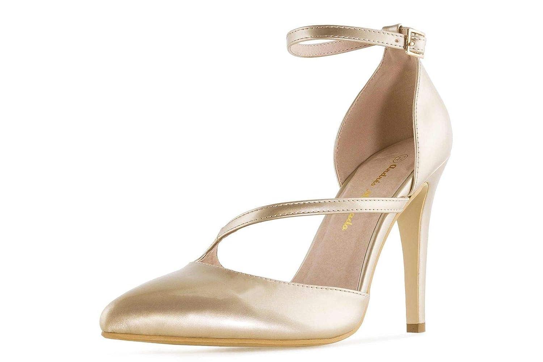 Andres Machado Pumps in Übergrößen Gold AM5312 Charol Charol Charol Gold große Damenschuhe 7d8246