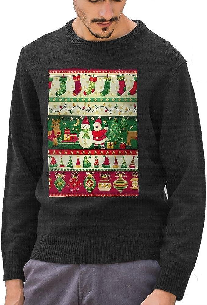 GOKIEOCE Mens Christmas Snowman Deer Cotton Crewneck Sweater Ugly Christmas Long Sleeve Knit Sweatshirt