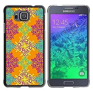 KOKO CASE / Samsung GALAXY ALPHA G850 / papel tapiz floral rosado naranja turquesa / Delgado Negro Plástico caso cubierta Shell Armor Funda Case Cover