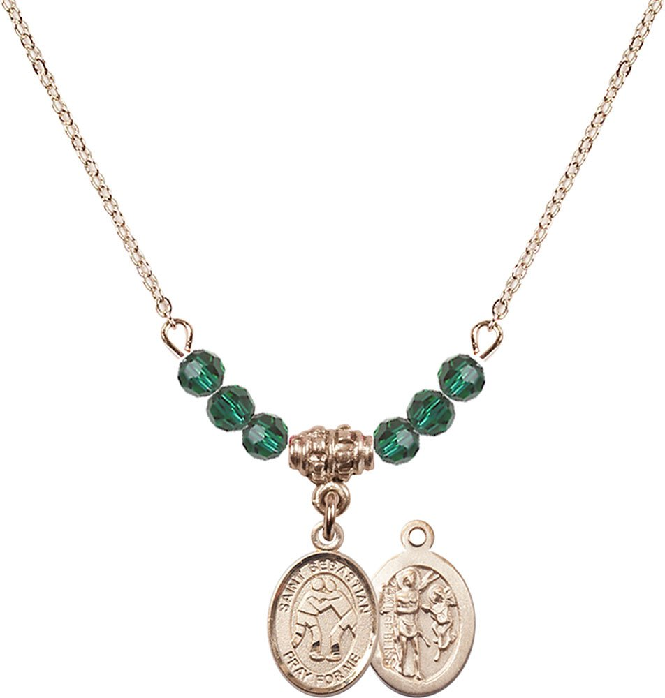 18-Inch Hamilton Gold Plated Necklace with 4mm Emerald Birthstone Beads and Gold Filled Saint Sebastian/Wrestling Charm.