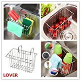 LOVER Kitchen Sink Organizer, Kitchen Sink Caddy, Stainless Steel Sink Sponge Holder Brush Soap Dishwashing Liquid Drainer Rack For Kitchen Sink Countertop Storage
