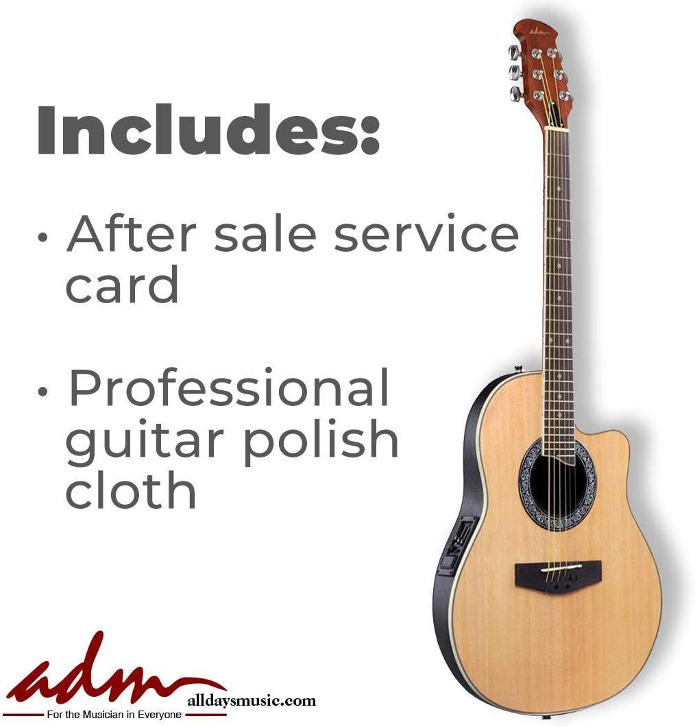 ADM - Guitarra eléctrica acústica de tamaño completo, con orificio ...