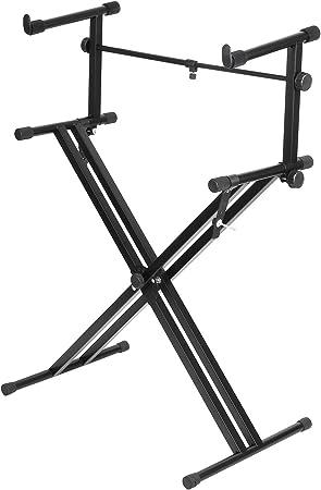 FEMOR Soporte Doble de Teclado con Pata Doble en Forma X de Hierro Altura Regulable 88/100 / 111/119 / 124cm Color Negro (2 Niveles)