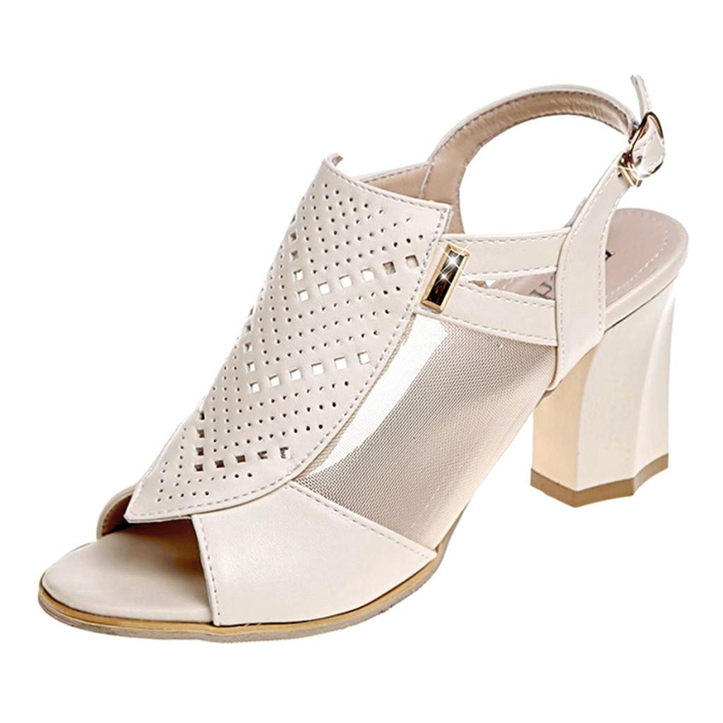 Women's Breathable Hollow Out Sandals Casual Slip On Ankle Buckle Strap Square High Heel Sandals Roman Shoes Size 5-7.5 (Beige, US:7) by Aritone - Shoes (Image #1)