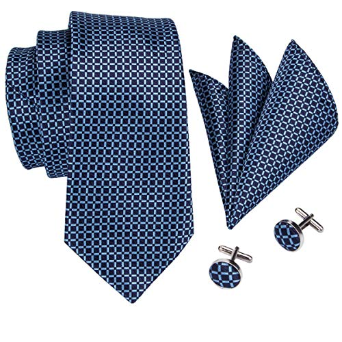 Barry.Wang Mens Ties Set Retro Plaid Necktie with Hanky Cufflinks Formal Blue Checkered Silk Necktie Tie
