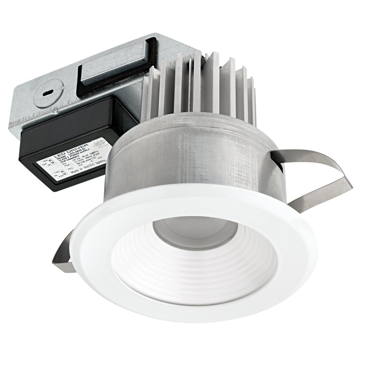 Globe Electric 90073 4 inch LED Integrated IC Rated Regressed Ridged Baffle Recessed Lighting Kit Title 24 Compliant,  Energy Star Certified, White Finish & Baffle