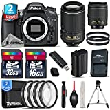 Holiday Saving Bundle for D7100 DSLR Camera + 55-200mm VR II Lens + AF-P 18-55mm + 2yr Extended Warranty + 32GB Class 10 Memory Card + 16GB Class 10 + Macro Filter Kit - International Version