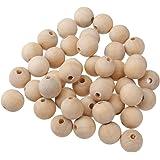 50pcs Rund Holzperlen zum Fädeln Holz Perlen Perle Beads Schmuck Basteln - 14mm, Natur
