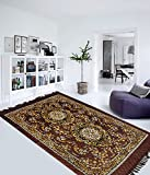 Home Elite Traditional Abstract Polyester Carpet - 55'x80', Brown