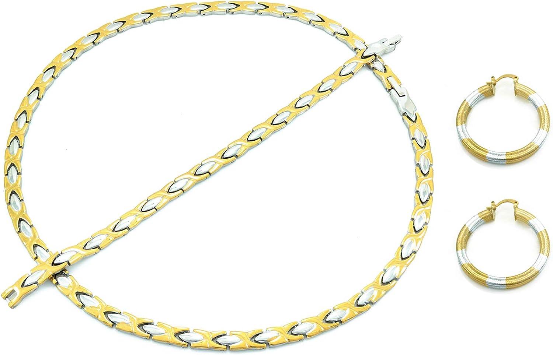 """Womens 3 Tone Hugs And Kisses Necklace Bracelet Hoop Earrings Set 18"""" XO"""