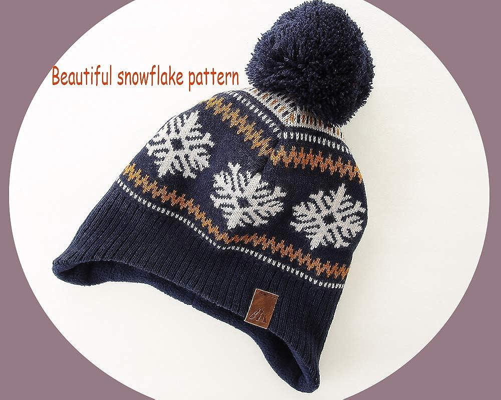 LMLALML Boys Winter Hat Earflap Knitted Beanie for Kids Warm Fleece Lined Thicken Hat for Baby