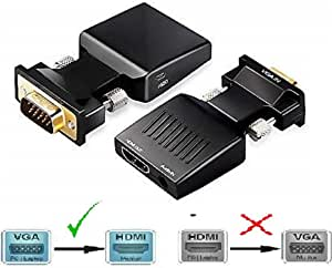 VGA to HDMI Adapter, QGeeM VGA to HDMI Adapter with Audio/1080p Video Output,VGA to HDMI (Male to Female) Converter Dongle adaptador for Monitor,Computer,Laptop,Projector,VGA to HDMI Converter