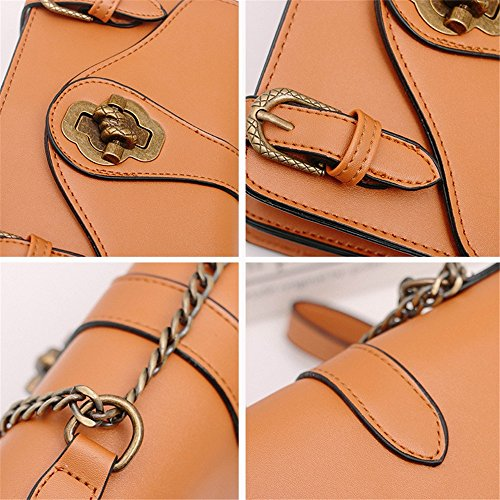 Magnetic Everyday Bag Portable Brown Shoulder Retro Suitable Bag Use Square Pu Straps Simple For Messenger Chain Asdflina CFtRSZqww