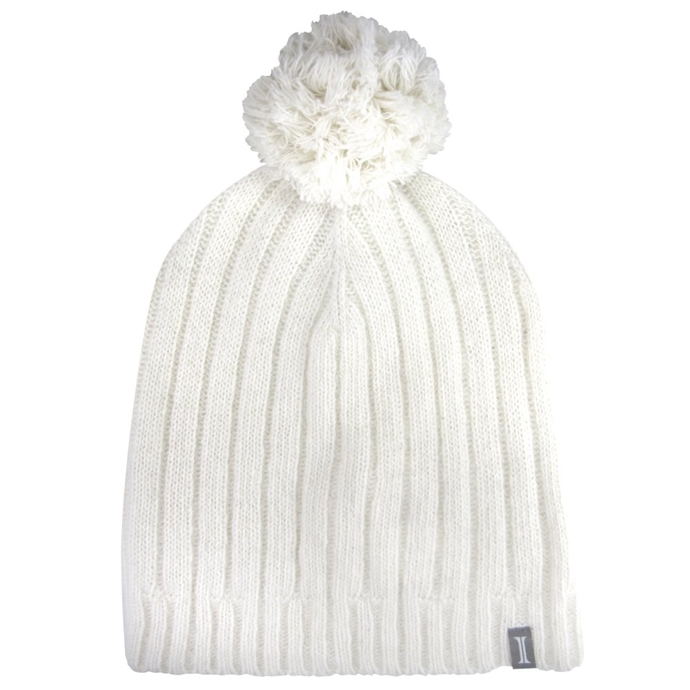 Igloos Women's Wool Fine Gauge Slouch Beanie with Pom, Antique White, One Size