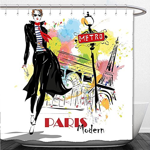 Beshowere Shower Curtain Fashion House Decor Aesthetic Fashion Woman in Clothing Walking in Paris Streets Urban Theme Multi (Pch Canopy Bed)