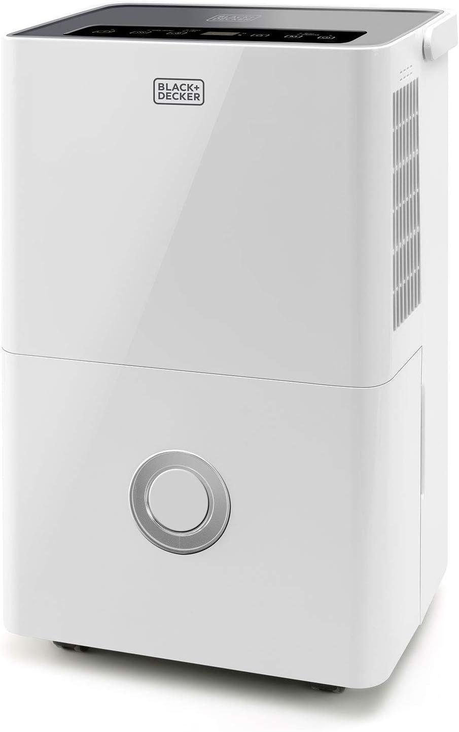 Black+Decker BXDH20E – Deshumidificador y purificador de aire 2 en 1. Depósito de 4L. 20L/24h. Filtro HEPA13. Función secado de la ropa. 2 velocidades. Programable 24h.