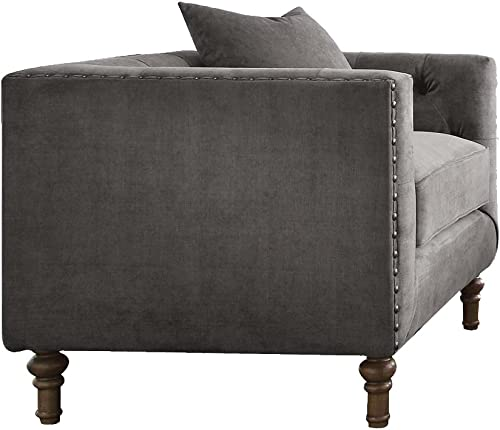 ACME Sidonia Gray Velvet Chair with 1 Pillow